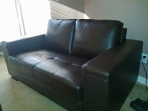Reaql Leather Love Seat - Espresso Brown - $350
