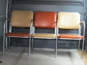 Chrome and Leather 3 Piece Settee