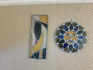 2 Old Vintage Stained Glass Art (excellent condition)
