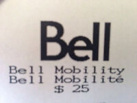 Bell Mobility Prepaid Card $25.00