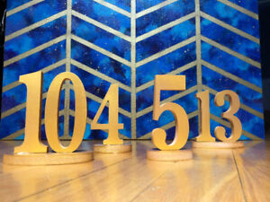 Table Numbers for Events 1-15