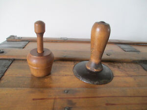 Small wooden butter press and wood/metal tool