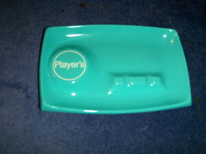 VINTAGE PLAYER'S METAL ASHTRAY-BLUE-EXCELLENT CONDITION!
