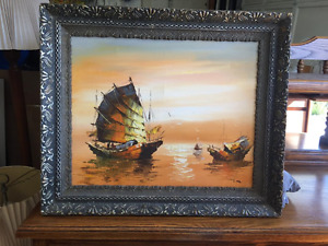 original oil painting by Lee in Antique frame boats