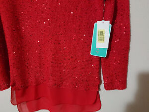 Girl Red Sequin/Organza trim Top Size M