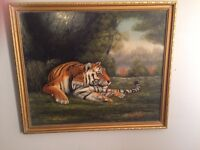 Tiger jungle oil painting