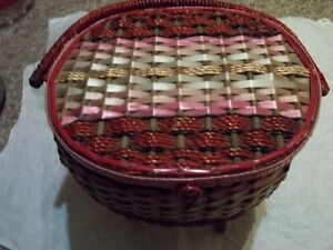 Footed wicker sewing basket