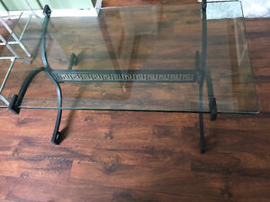 Glass and Wrought Iron 2 Piece Coffee Table Set
