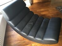 Dwell large faux leather ripple rocking rocker chair