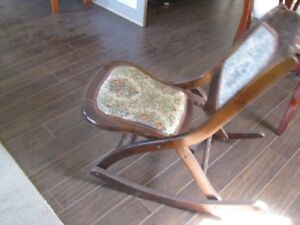 Antique Folding Rocking Chair Wood and Upholstery