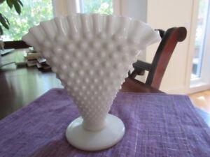 Vintage Hob Nail Milk Glass Vase  with Ruffled Edge