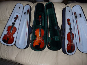 New condition 1/4 & 1/8 Student Violin Sets For Sale