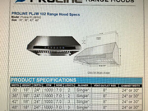 PROLINE 42 IN RANGE HOOD (PLJW-102.24) NEW IN BOX Kitchener / Waterloo Kitchener Area image 6