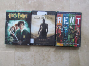 Harry Potter, Gladiator, Rent, DVDs, movies, LOT of 3 movies