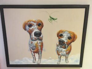 Large art print of dogs and grasshopper