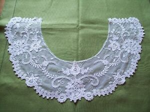 VINTAGE WHITE NET LACE COTTON WHITEWORK COLLAR