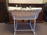 Clair De Lune Deluxe Padded White Wicker Baby Moses Basket