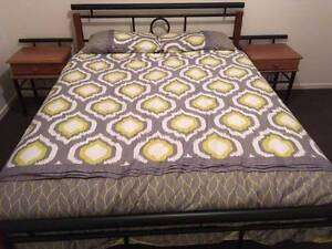 black metal / wooden queen size bed + base + mattress ,can delive Box Hill Whitehorse Area Preview