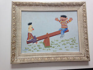 Awesomely bad painting of Bert and Ernie