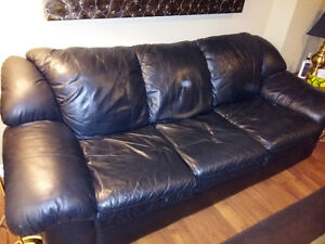 Black Leather Couch with Double Pullout