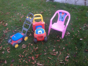 Kids outside toys and chair