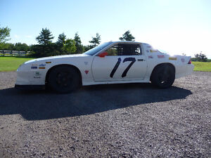 Full Race Car Z28 Camaro with Flat Bed Trailer