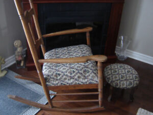 Antique Oak Rocking Chair with Stool