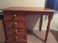 Pine desk with four drawers