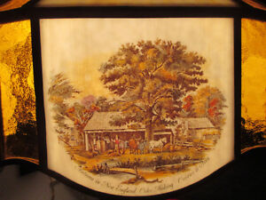 """Antique Currier & Ives Ceiling Lamp Stain Glass Shade Dia. 20.5"""" Stratford Kitchener Area image 6"""
