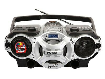 Supersonic SC-1395 Portable MP3 Audio Player Radio boombox USB/SD/AUX Inputs