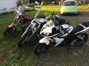 Honda CBR, Yamah V Star, and Yamaha XJ