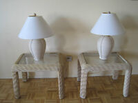 Beautiful Wicker End Tables and Lamps