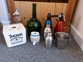 Vintage/Bar Soda Syphons/Coctail Shakers/Ice Buckets/Brandy Bottle