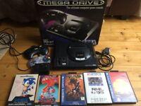 Sega Mega Drive with 5 games