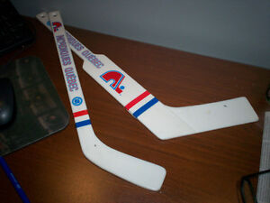 2 Hockey Sticks Mini NORDIQUES (Goalie + regular) for 10$