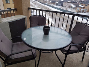 Patio furniture table and 3 chairs