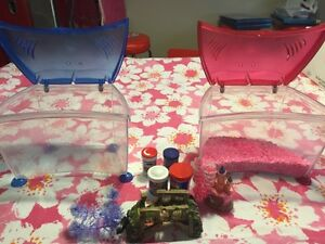 2 Small Aquariums (pink and Blue) incl. accessories