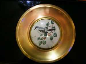Vintage Brass and Glass Bird Picture Plate