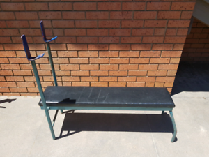 Flat Weight Bench with Barbell Stand