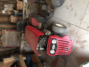 Old MTD lawn tractor with PTO tiller and mower