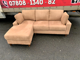 Corner group sofa in biscuit fabric £235 mint condition