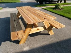 Cedar picnic tables
