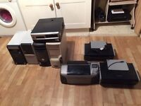 Job lot of 5 pentium 4 towers and 3 printers all working