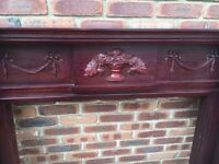 Mahogany and marble gas fire surround