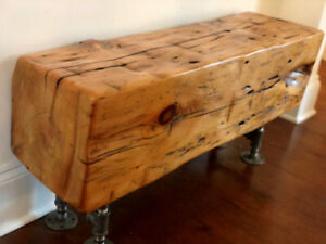 SALE 20% off Rustic Barn Beam Bench with Pipe or Block Legs