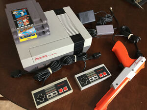 Nintendo NES console with mario 1,2 and 3