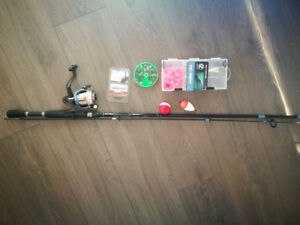 All fishing tools (rod, float, sinker, bait, tackle)