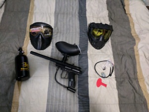 Spyder aggressor paintball gun with air tank and mask