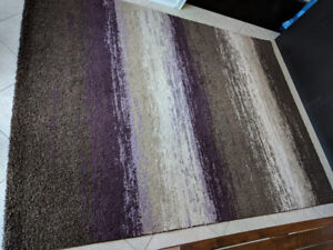 Area Rug- beige, taupe & purple