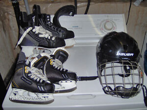 HOCKEY HELMET& 2 PAIRS OF SKATES.  MISSION, SHERWOOD